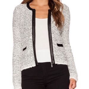 Joie Jacolyn B white and black leather trim jacket